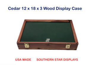 Cedar Wood Display Case 12 x 18 x 3 for Arrowheads Knifes Collectibles & More