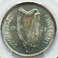Irish Free State Proof 1/2 Crown 1928 PR64 PCGS FIRST YEAR TYPE NEAR GEM
