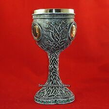 Triple Moon Goddess Chalice Goblet Statue Pagan Ornament Mother Maiden Crone