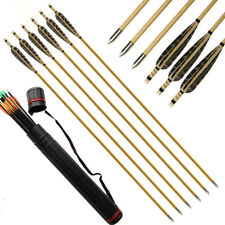 12pcs Wooden Arrows Archery Hunting True Feather Recurve Bow Longbow Back Quiver