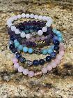 Artisan Made Stretch Gemstone Bracelets Set Of 5