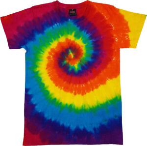 Tie Dye T Shirt Tye Die Festival Hipster Indie Retro Unisex Top Rainbow Purple2