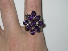 14K Yellow Gold Amethyst Diamond Flower Cluster Ring 5.49ctw, 5.18g (Pre-Owned)