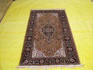 Silk Oriental Rug Carpet Handmade Yoga Mat Gold Color Classic Design 3x5 ft