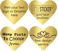 Personalised gold HEART labels for Invitations and greeting cards x 50