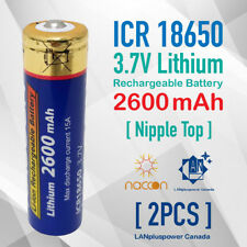 2x 3.7V ICR 18650 Battery 2600mAh Genuine Rechargeable 18650 Nipple Top battery