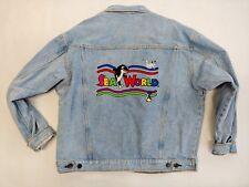 Vintage Sea World Denim Jean Jacket Embroidered Logos ADULT EXTRA LARGE XL SHAMU
