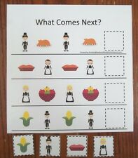 Teach early math skills. Thanksgiving holiday themed What Comes Next math game.