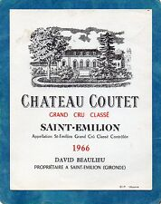 SAINT EMILION  GCC VIEILLE ETIQUETTE CHATEAU COUTET 1966 RARE §20/01§