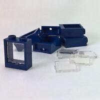 6 NEW LEGO Dark Blue Window 1 x 2 x 2 Flat Front with clear glass