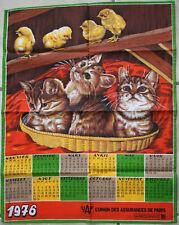 """Torchon cuisine calendrier 1976 UAP """"chats & poussins"""" - 47cm x60cm"""