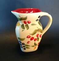 FTD Collectible Pitcher Or Vase - White And Red - Hand Painted Folk Tole Fruit