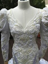 VTG 80'S/90's Demetrious Beaded Wedding Dress, SZ 4, Mini Trumpet Long Train