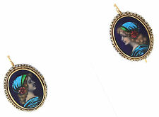 Victorian R. Philippon Paris 14K Yellow Gold Portrait Cameo Seed Pearl Earrings