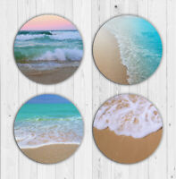 Beach Drink Coasters x 4 Non Fading Absorbent Neoprene