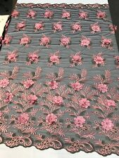 DUSTY ROSE 3D FLORAL DESIGN EMBROIDERY WITH PEARLS ON A BLACK MESH LACE-BY YARD.