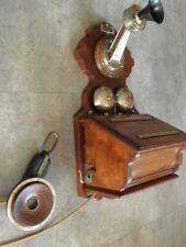 antique Siemens & Halske Telefon PHONE TELEPHONE wood Wandtelefon Pulttelefon