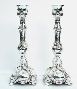 "Elegant Shabbat Candlesticks Silver Tone Candle Holders,Shabbos Light 6.7""/ 17cm"
