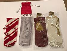 Christmas holiday wine bottle gift bags lot of 5