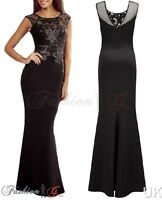 Womens Evening Dress Black Ball Gown Prom Party Formal Long Maxi New Size 8 10 S