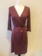 Diane Von Furstenberg NEW JULIAN Burgundy Print Silk Wrap Dress 6