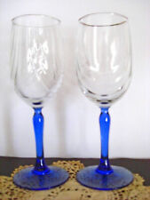 Vintage LENOX Clear / Cobalt Blue Crystal Swag Stemware Gold Rim Set of 2
