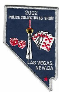 2002 POLICE COLLECTIBLES SHOW LAS VEGAS NEVADA NV STATE SHAPED PATCH