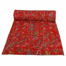 Indian Hand Quilted Bohemian Blanket Bedding Bedspread Kantha Throw Blanket
