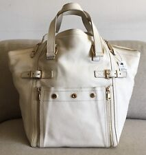 26eb5c67acb7 NWT YSL Yves Saint Laurent Ivory Med Downtown Leather Handbag Shoulder Bag  Tote