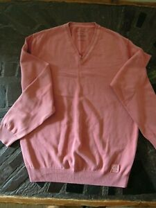 BUGATTI  Dusty Pink  V-NECK SWEATER  Unisex  **LARGE   Made in Italy  COTTON