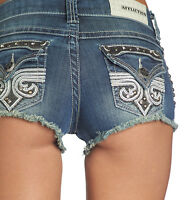 Affliction Women's Vikki Jodi Denim Shorts Patches Studs 111DS029