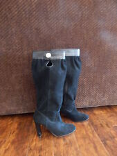 Michael Kors MK Tall Knee High Black Suede Leather Slouch Boot   9 M