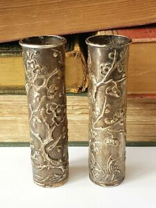 Antique-Chinese-Pair Of  Silver Floral Decorated Spill Vases-Wang Hing-c1900