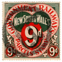(I.B) Australia - NSW Railways : Parcel Stamp 9d (1891)