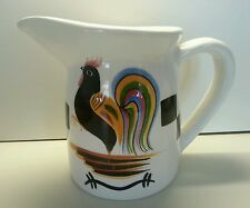 Laurie Gates Black Rooster Pitcher Checkerboard Los Angeles Pottery California