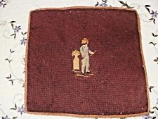 ANTIQUE TRAMME, NEEDLEPOINT SEAT COVER, BOY w/ HOOP & STICK, 19th CENT