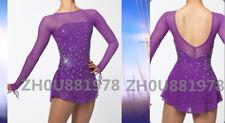 Ice Figure Skating Dress Gymnastics custome Dress Dance Competition purple