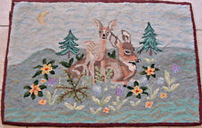 ANTIQUE HOOKED RUG AMERICANA FOLK ART 1940S BAMBI DISNEY