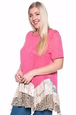 Size 2XL SHIRT TOP Womens Plus PINK Short Sleeves RUFFLED LACE BOTTOM New