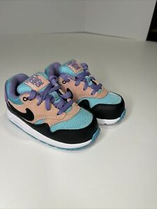 Nike Air Max 1 Have A Nike Day BQ7214-001 Black/Purple/Coral Size 8C Toddler