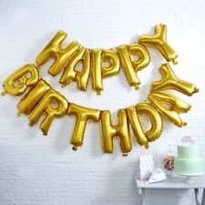 """Gold HAPPY BIRTHDAY 12"""" Air Fill BALLOONS ~ Luxury Party Decoration Bunting Kit"""
