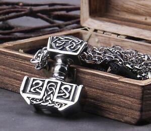 Viking Mjölnir Amulet Thor's Hammer Pendant/Celtic Knot Stainless Steel Necklace