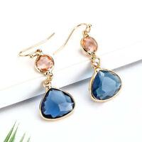 New Women's Fashion Crystal Earrings Rhinestone Blue / Pink Glass Metal Earrings