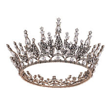 7cm High Crystal Antique Gold Round Crown Tiara Wedding Bridal Party Pageant Pro