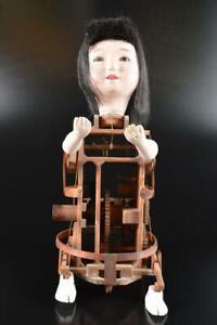 L1046: Japan XF Wooden Tea-carrying DOLL Ornaments object art work Tea Ceremony
