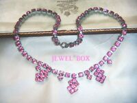 VINTAGE JEWELLERY 1950s Sapphire Pink Crystal Rhinestone RIVIERE Drops NECKLACE