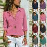 Women Blouse Tops Holiday Plain Long Sleeve Loose Comfy Casual Pockets T-shirt