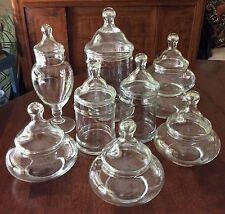 8 Vintage Glass Apothecary Display Candy Wedding Shower Party Storage Jar Lot