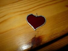 Hand Crafted Red Glass Valentine Heart To Use On A Chain-#V5