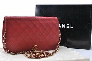 CHANEL Calf Skin Matelasse Full Flap Chain Shoulder Cross Body Bag Red Box D4527